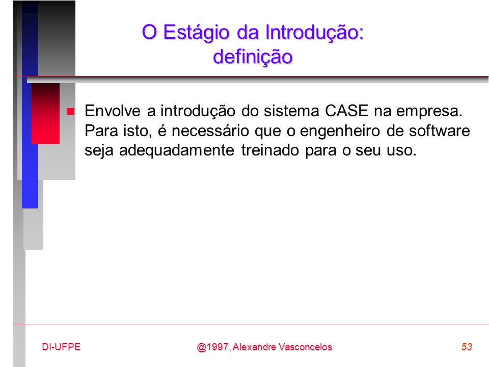 @1997, Alexandre Vasconcelos53DI-UFPE O Estágio da Introdução: definição n Envolve a introdução do sistema CASE na empresa. Para isto, é necessário qu