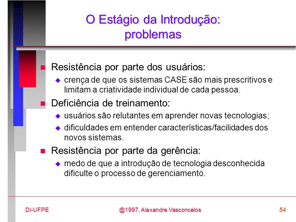 @1997, Alexandre Vasconcelos54DI-UFPE O Estágio da Introdução: problemas n Resistência por parte dos usuários:  crença de que os sistemas CASE são ma