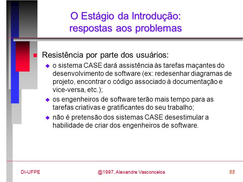 @1997, Alexandre Vasconcelos55DI-UFPE O Estágio da Introdução: respostas aos problemas n Resistência por parte dos usuários:  o sistema CASE dará ass