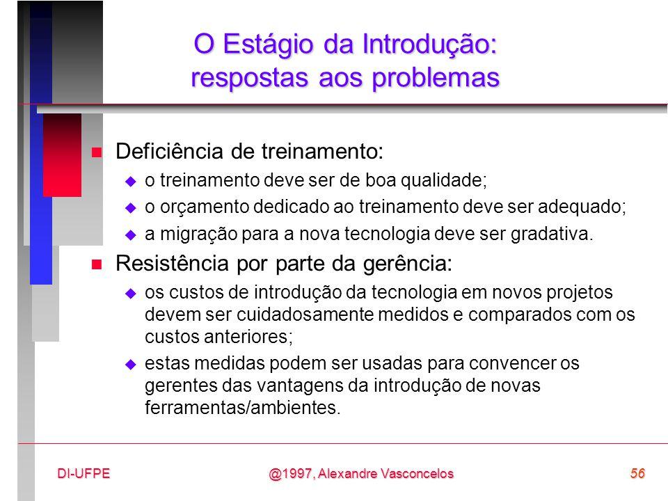 @1997, Alexandre Vasconcelos56DI-UFPE O Estágio da Introdução: respostas aos problemas n Deficiência de treinamento:  o treinamento deve ser de boa q