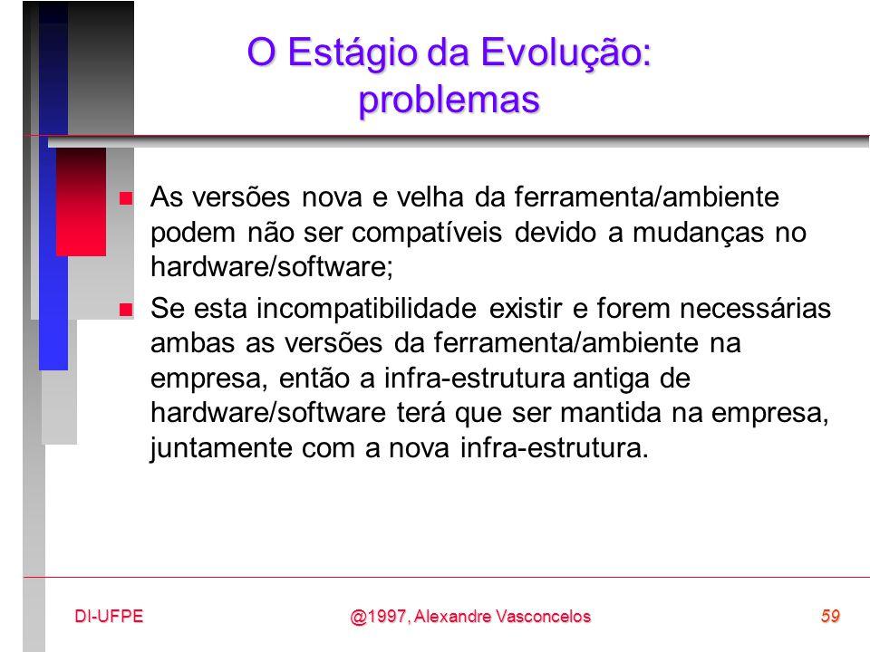 @1997, Alexandre Vasconcelos59DI-UFPE O Estágio da Evolução: problemas n As versões nova e velha da ferramenta/ambiente podem não ser compatíveis devi