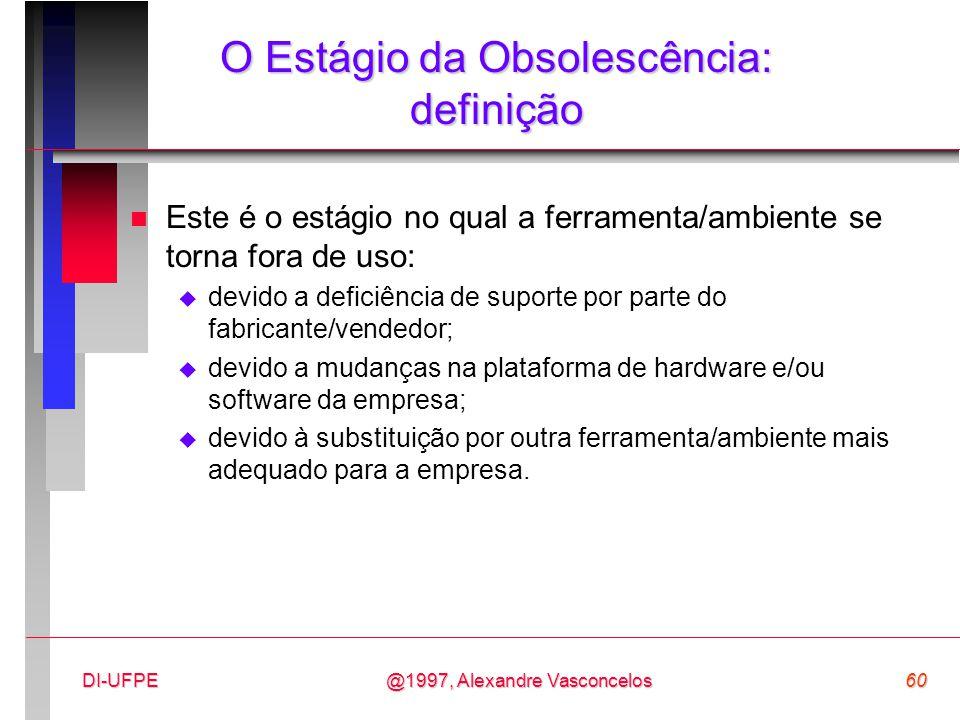 @1997, Alexandre Vasconcelos60DI-UFPE O Estágio da Obsolescência: definição n Este é o estágio no qual a ferramenta/ambiente se torna fora de uso:  d