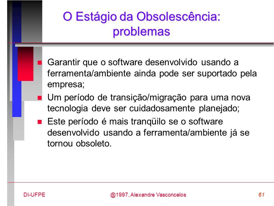 @1997, Alexandre Vasconcelos61DI-UFPE O Estágio da Obsolescência: problemas n Garantir que o software desenvolvido usando a ferramenta/ambiente ainda