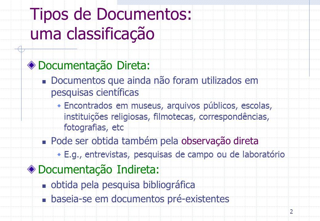 3 Pesquisa Bibliográfica: Etapas 1.Identificação: Onde posso encontrar material do meu interesse.