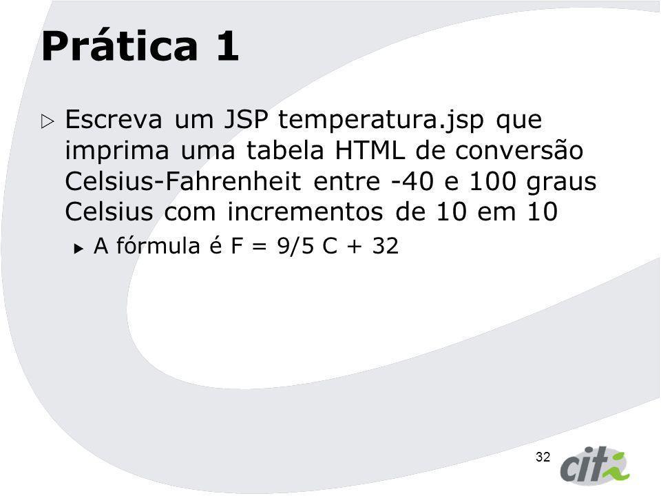 32 Prática 1  Escreva um JSP temperatura.jsp que imprima uma tabela HTML de conversão Celsius-Fahrenheit entre -40 e 100 graus Celsius com incremento