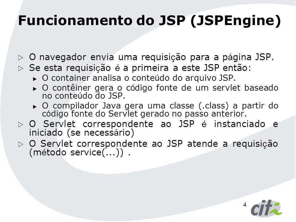 4  O navegador envia uma requisi ç ão para a p á gina JSP.  Se esta requisi ç ão é a primeira a este JSP então:  O container analisa o conte ú do d