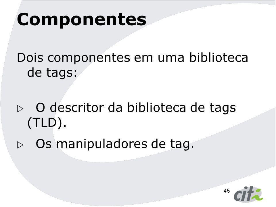 45 Componentes Dois componentes em uma biblioteca de tags:  O descritor da biblioteca de tags (TLD).  Os manipuladores de tag.