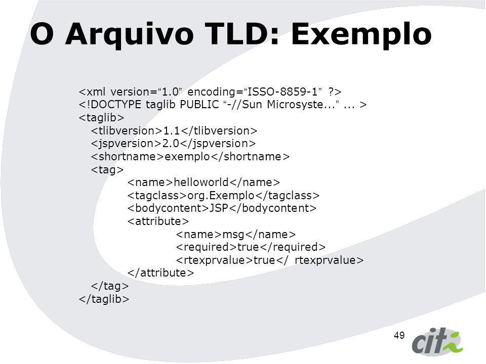 49 O Arquivo TLD: Exemplo 1.1 2.0 exemplo helloworld org.Exemplo JSP msg true