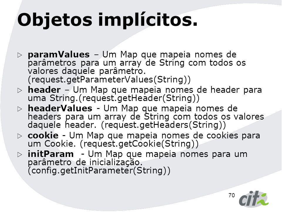 70 Objetos implícitos.  paramValues – Um Map que mapeia nomes de parâmetros para um array de String com todos os valores daquele parâmetro. (request.