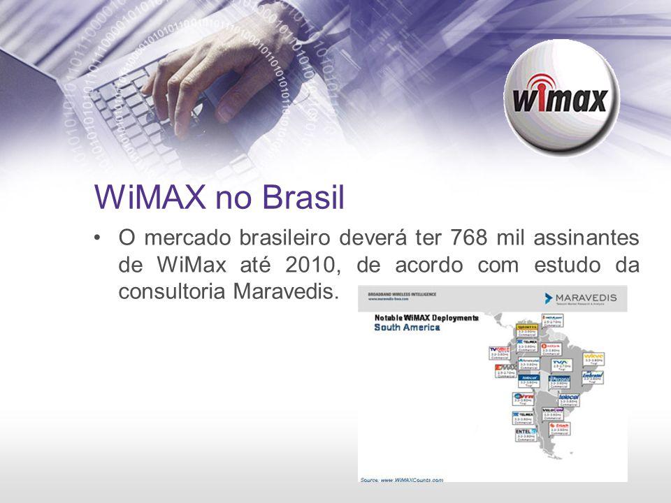 WiMAX no Brasil O mercado brasileiro deverá ter 768 mil assinantes de WiMax até 2010, de acordo com estudo da consultoria Maravedis.