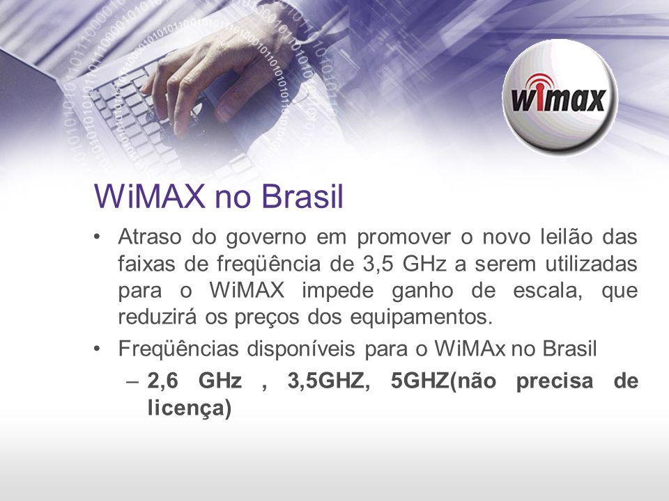 WiMAX no Brasil Atraso do governo em promover o novo leilão das faixas de freqüência de 3,5 GHz a serem utilizadas para o WiMAX impede ganho de escala