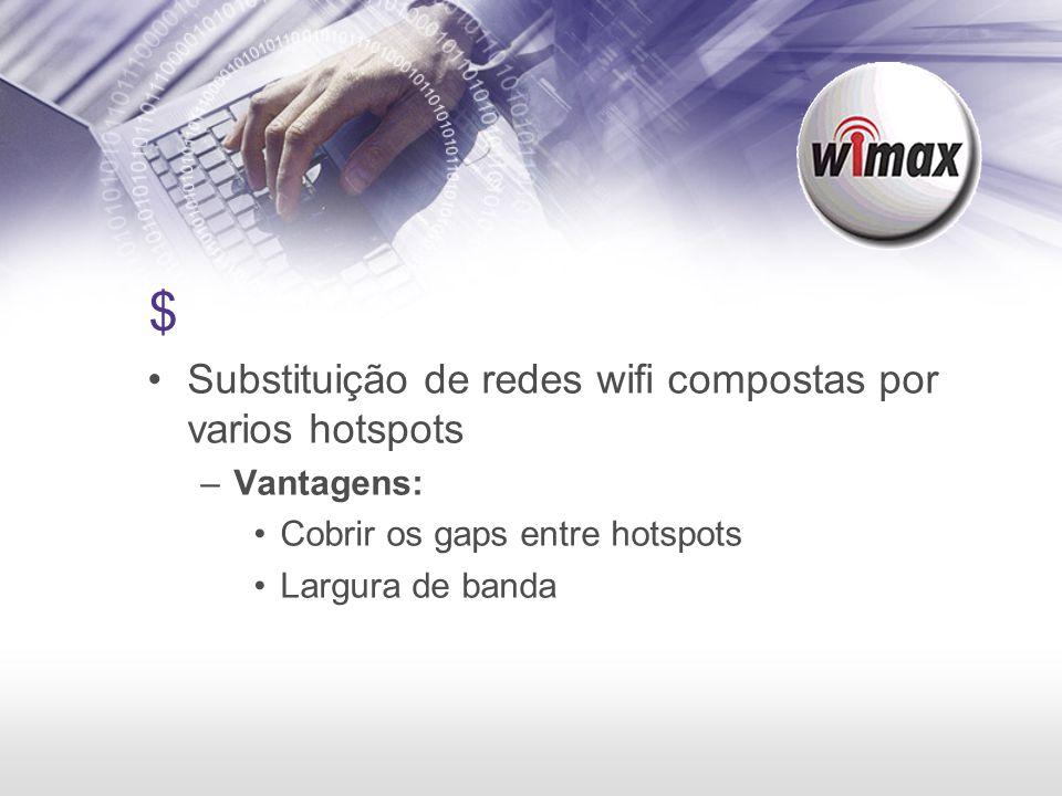$ Substituição de redes wifi compostas por varios hotspots –Vantagens: Cobrir os gaps entre hotspots Largura de banda