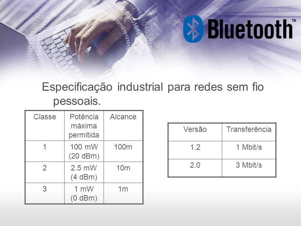 Especificação industrial para redes sem fio pessoais. ClassePotência máxima permitida Alcance 1100 mW (20 dBm) 100m 22.5 mW (4 dBm) 10m 31 mW (0 dBm)