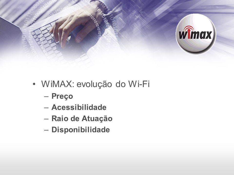 WiMAX: evolução do Wi-Fi –Preço –Acessibilidade –Raio de Atuação –Disponibilidade