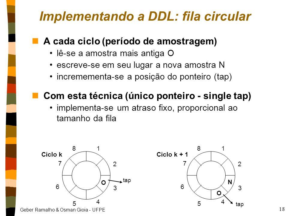 Geber Ramalho & Osman Gioia - UFPE 18 Implementando a DDL: fila circular N O 1 2 3 4 5 6 7 8 nA cada ciclo (período de amostragem) lê-se a amostra mais antiga O escreve-se em seu lugar a nova amostra N incremementa-se a posição do ponteiro (tap) nCom esta técnica (único ponteiro - single tap) implementa-se um atraso fixo, proporcional ao tamanho da fila Ciclo k + 1 O 1 2 3 4 5 6 7 8 Ciclo k tap