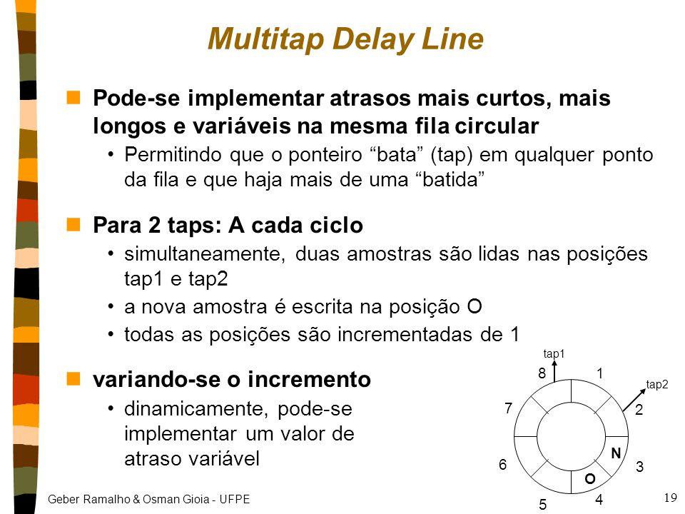 Geber Ramalho & Osman Gioia - UFPE 19 Multitap Delay Line nPode-se implementar atrasos mais curtos, mais longos e variáveis na mesma fila circular Permitindo que o ponteiro bata (tap) em qualquer ponto da fila e que haja mais de uma batida nPara 2 taps: A cada ciclo simultaneamente, duas amostras são lidas nas posições tap1 e tap2 a nova amostra é escrita na posição O todas as posições são incrementadas de 1 nvariando-se o incremento dinamicamente, pode-se implementar um valor de atraso variável N O 1 2 3 4 5 6 7 8 tap1 tap2