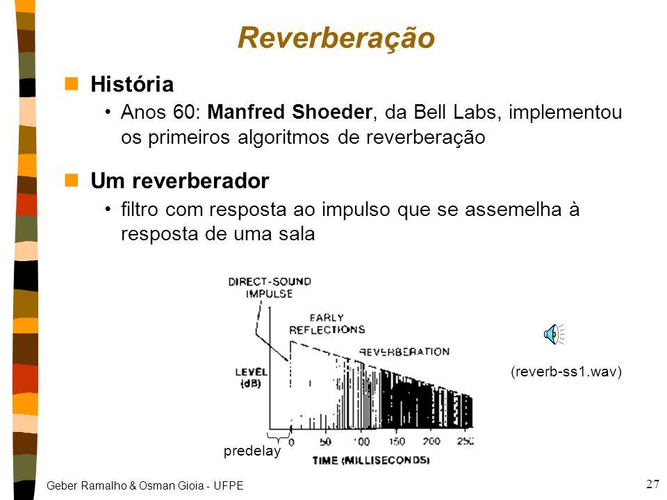 Geber Ramalho & Osman Gioia - UFPE 27 Reverberação nHistória Anos 60: Manfred Shoeder, da Bell Labs, implementou os primeiros algoritmos de reverberação nUm reverberador filtro com resposta ao impulso que se assemelha à resposta de uma sala predelay (reverb-ss1.wav)