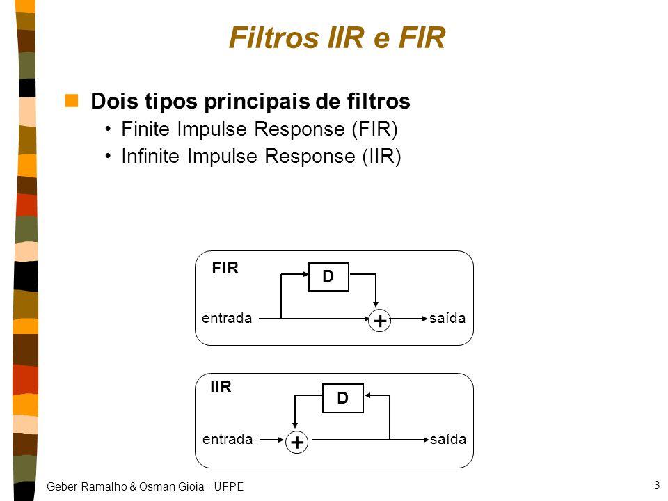Geber Ramalho & Osman Gioia - UFPE 4 Passa-Baixas FIR f a Fa/2 1 × × + entradasaída  0,5 nEquação y[n] = (0,5 × x[n]) + (0,5 × x [n - 1]) nComentário equivalente a encontrar a média aritmética de pares de amostras subseqüentes efeito: amaciar a forma de onda (passa-baixas) nCircuito/algoritmo Freqüência de amostragem
