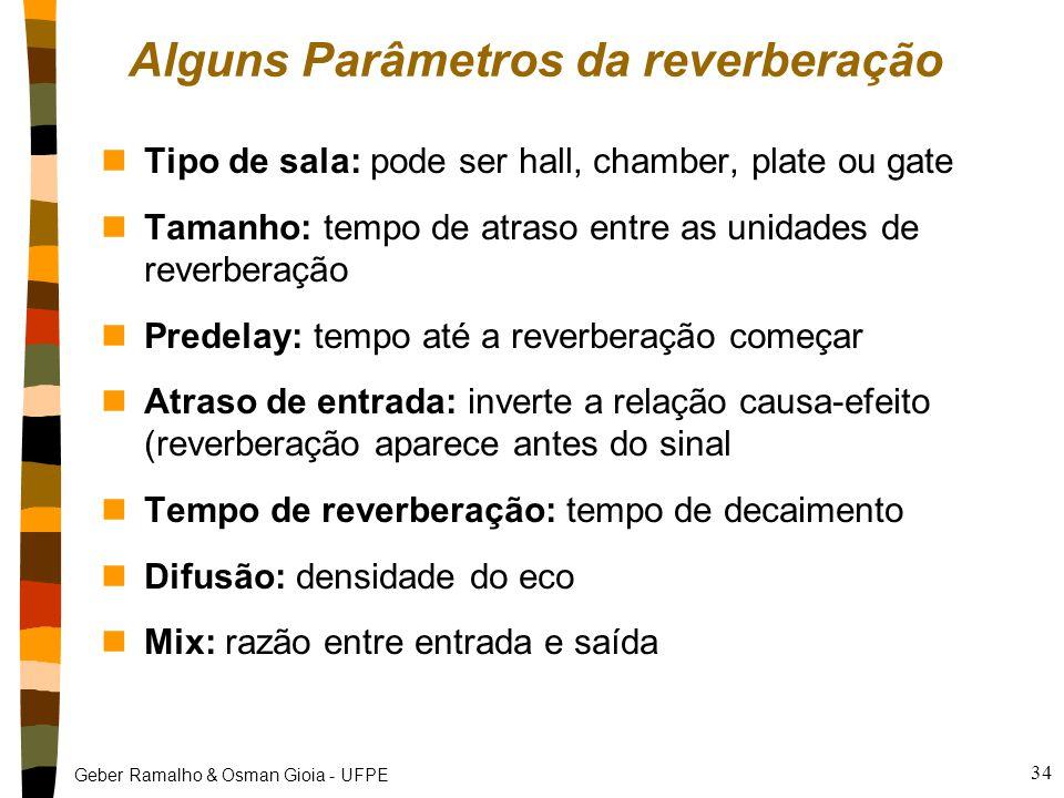 Geber Ramalho & Osman Gioia - UFPE 34 Alguns Parâmetros da reverberação nTipo de sala: pode ser hall, chamber, plate ou gate nTamanho: tempo de atraso entre as unidades de reverberação nPredelay: tempo até a reverberação começar nAtraso de entrada: inverte a relação causa-efeito (reverberação aparece antes do sinal nTempo de reverberação: tempo de decaimento nDifusão: densidade do eco nMix: razão entre entrada e saída