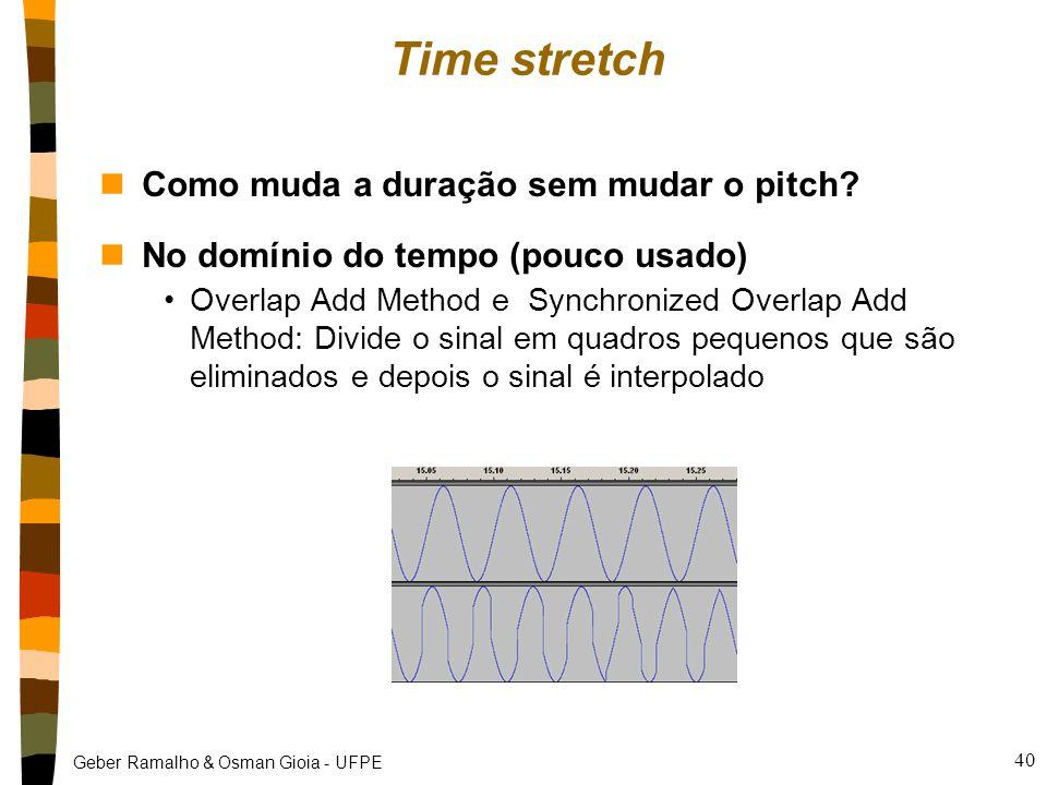 Geber Ramalho & Osman Gioia - UFPE Time stretch nComo muda a duração sem mudar o pitch.