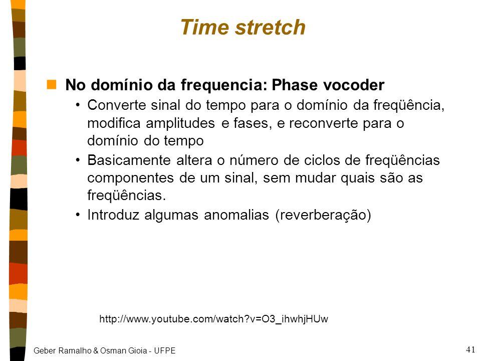 Geber Ramalho & Osman Gioia - UFPE Time stretch nNo domínio da frequencia: Phase vocoder Converte sinal do tempo para o domínio da freqüência, modifica amplitudes e fases, e reconverte para o domínio do tempo Basicamente altera o número de ciclos de freqüências componentes de um sinal, sem mudar quais são as freqüências.