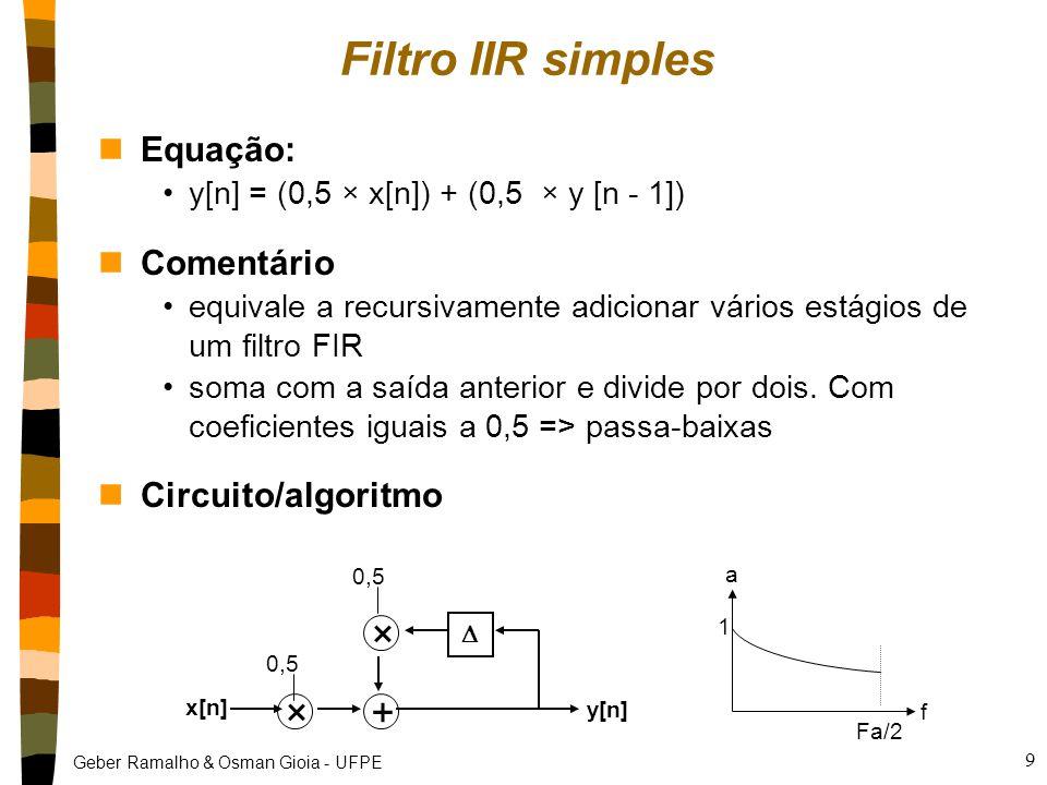 Geber Ramalho & Osman Gioia - UFPE 9 Filtro IIR simples nEquação: y[n] = (0,5 × x[n]) + (0,5 × y [n - 1]) nComentário equivale a recursivamente adicionar vários estágios de um filtro FIR soma com a saída anterior e divide por dois.