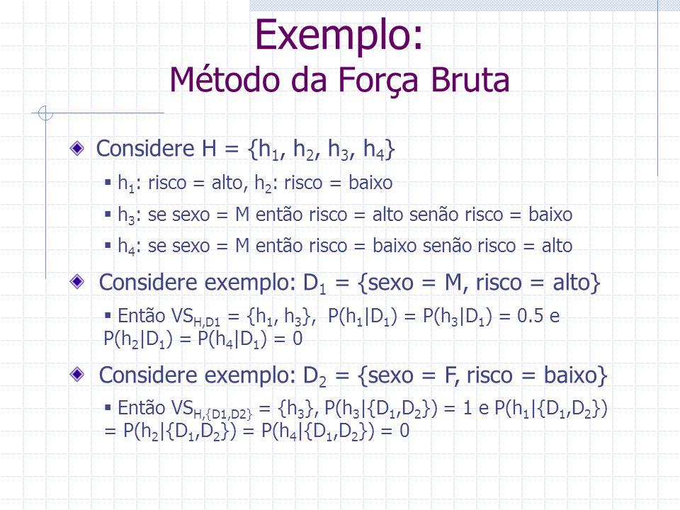 Exemplo: Método da Força Bruta Considere H = {h 1, h 2, h 3, h 4 }  h 1 : risco = alto, h 2 : risco = baixo  h 3 : se sexo = M então risco = alto se