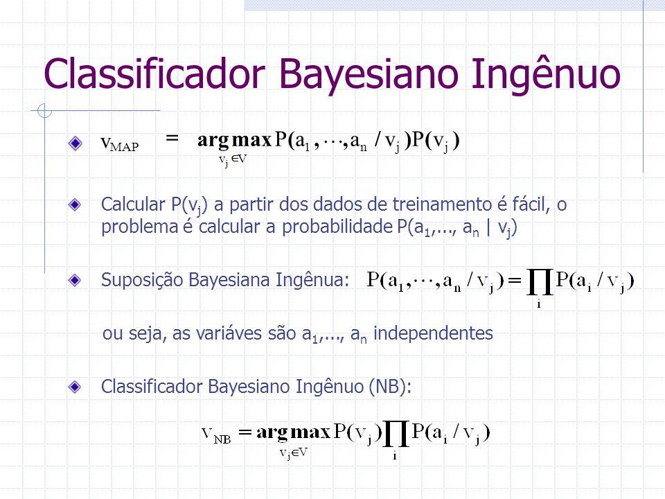 Calcular P(v j ) a partir dos dados de treinamento é fácil, o problema é calcular a probabilidade P(a 1,..., a n   v j ) Suposição Bayesiana Ingênua: