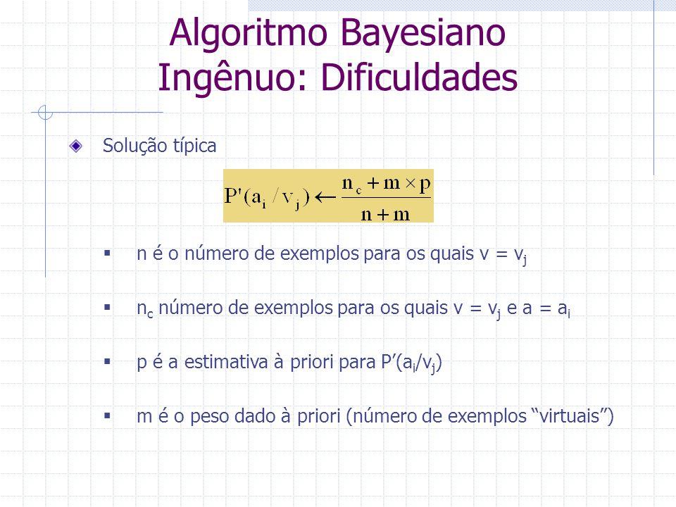 Solução típica  n é o número de exemplos para os quais v = v j  n c número de exemplos para os quais v = v j e a = a i  p é a estimativa à priori p