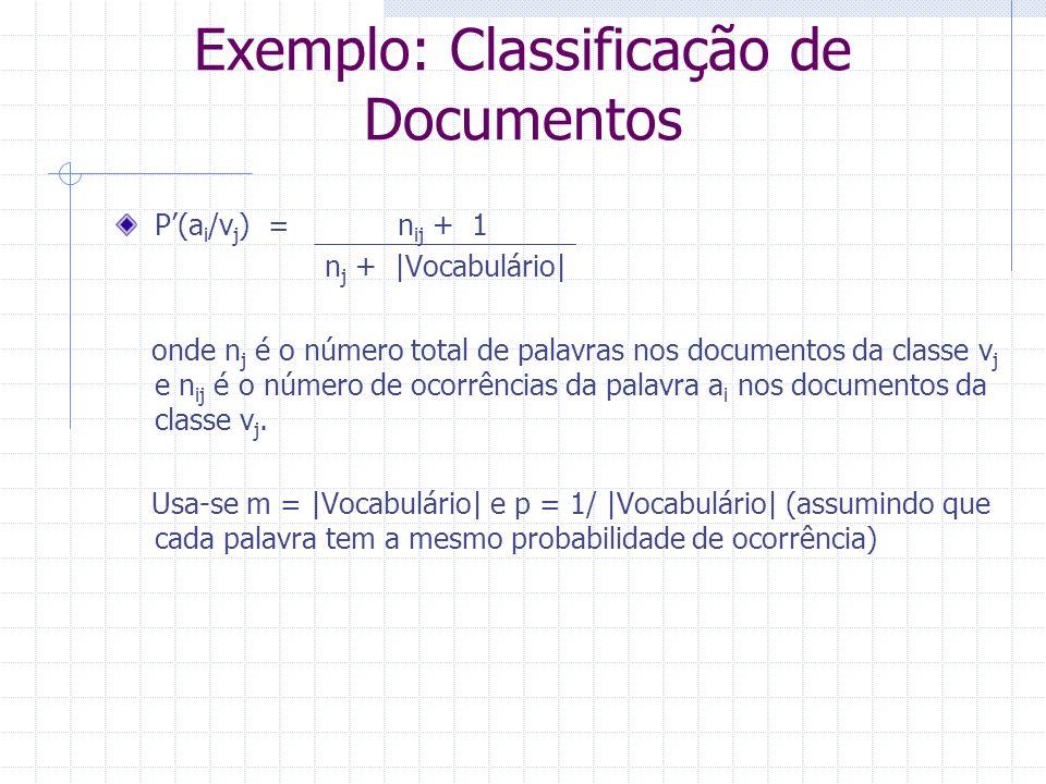 P'(a i /v j ) = n ij + 1 n j +  Vocabulário  onde n j é o número total de palavras nos documentos da classe v j e n ij é o número de ocorrências da pa