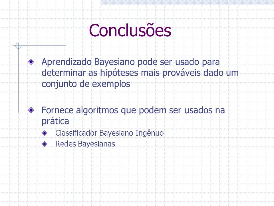 Conclusões Aprendizado Bayesiano pode ser usado para determinar as hipóteses mais prováveis dado um conjunto de exemplos Fornece algoritmos que podem