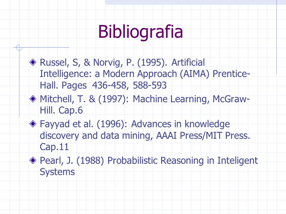 Bibliografia Russel, S, & Norvig, P. (1995). Artificial Intelligence: a Modern Approach (AIMA) Prentice- Hall. Pages 436-458, 588-593 Mitchell, T. & (