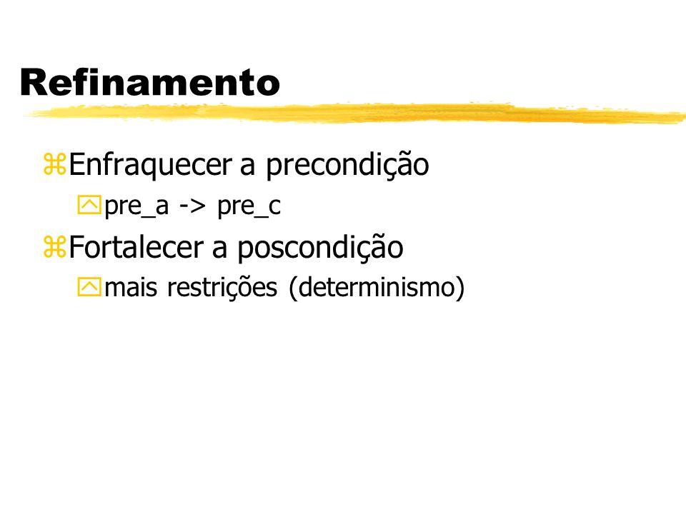 Refinamento zEnfraquecer a precondição ypre_a -> pre_c zFortalecer a poscondição ymais restrições (determinismo)