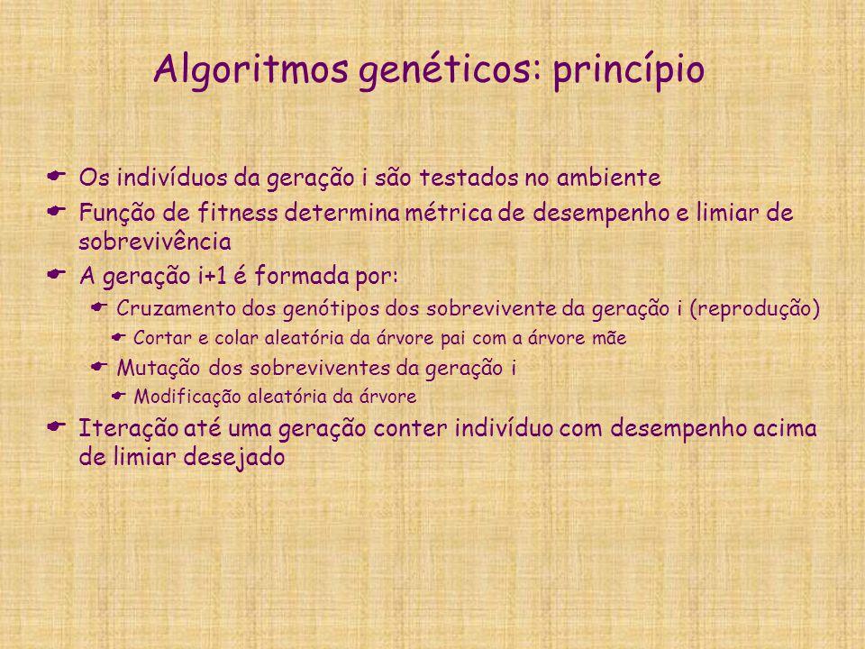 Algoritmos genéticos: princípio  Os indivíduos da geração i são testados no ambiente  Função de fitness determina métrica de desempenho e limiar de