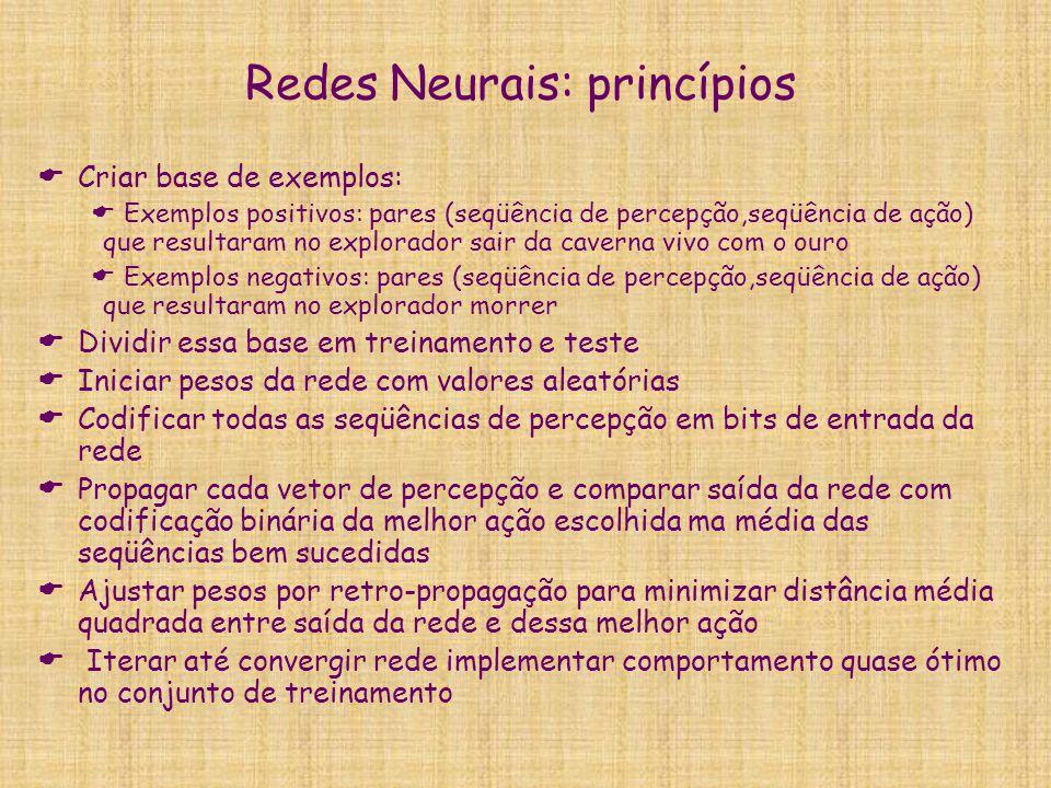 Redes Neurais: princípios  Criar base de exemplos:  Exemplos positivos: pares (seqüência de percepção,seqüência de ação) que resultaram no explorado