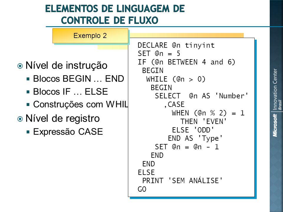  Nível de instrução  Blocos BEGIN … END  Blocos IF … ELSE  Construções com WHILE  Nível de registro  Expressão CASE DECLARE @n tinyint SET @n =
