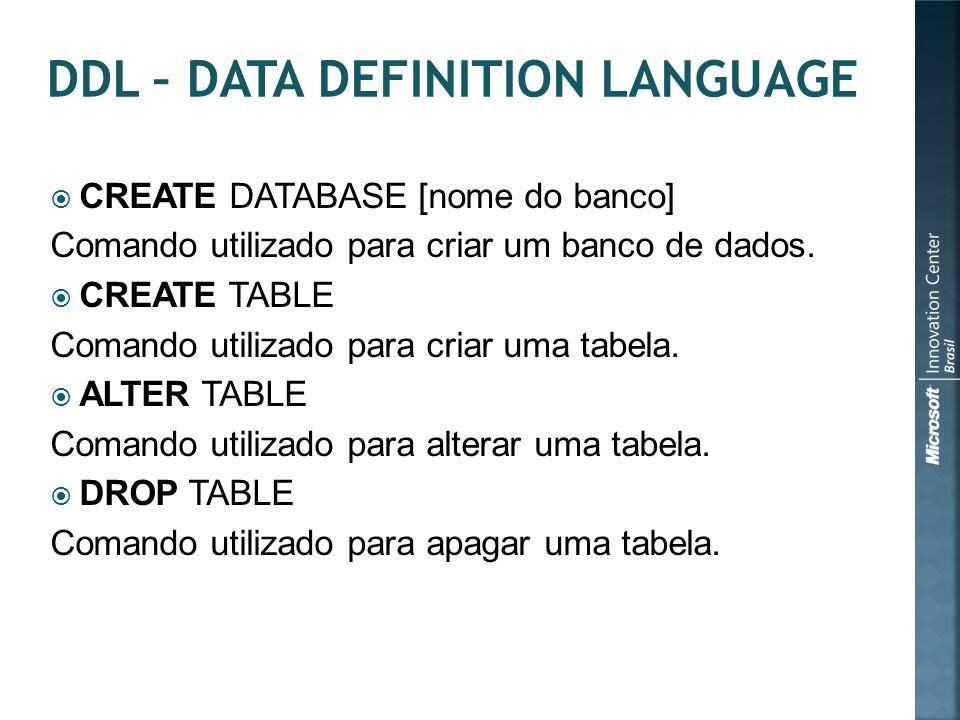  CREATE DATABASE [nome do banco] Comando utilizado para criar um banco de dados.  CREATE TABLE Comando utilizado para criar uma tabela.  ALTER TABL