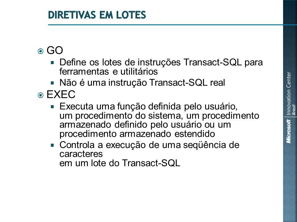  GO  Define os lotes de instruções Transact-SQL para ferramentas e utilitários  Não é uma instrução Transact-SQL real  EXEC  Executa uma função d
