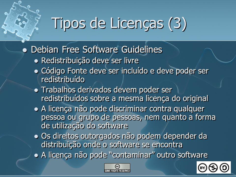 Tipos de Licenças (3) Debian Free Software Guidelines Redistribuição deve ser livre Código Fonte deve ser incluído e deve poder ser redistribuído Trab