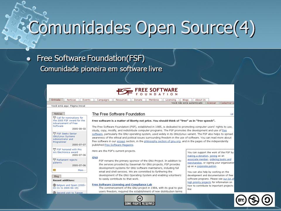 Comunidades Open Source(4) Free Software Foundation(FSF) Comunidade pioneira em software livre Free Software Foundation(FSF) Comunidade pioneira em so