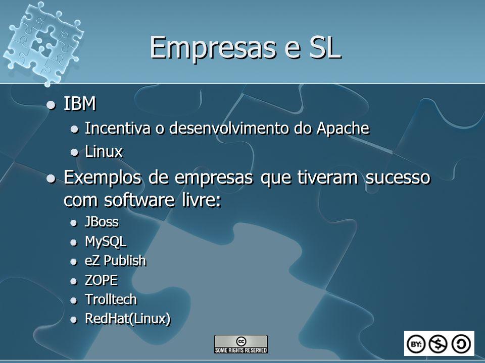 Empresas e SL IBM Incentiva o desenvolvimento do Apache Linux Exemplos de empresas que tiveram sucesso com software livre: JBoss MySQL eZ Publish ZOPE Trolltech RedHat(Linux) IBM Incentiva o desenvolvimento do Apache Linux Exemplos de empresas que tiveram sucesso com software livre: JBoss MySQL eZ Publish ZOPE Trolltech RedHat(Linux)