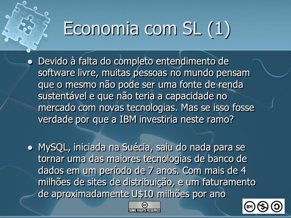 Economia com SL (1) Devido à falta do completo entendimento de software livre, muitas pessoas no mundo pensam que o mesmo não pode ser uma fonte de renda sustentável e que não teria a capacidade no mercado com novas tecnologias.