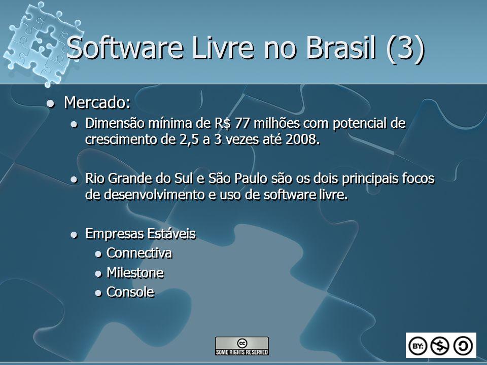 Software Livre no Brasil (3) Mercado: Dimensão mínima de R$ 77 milhões com potencial de crescimento de 2,5 a 3 vezes até 2008. Rio Grande do Sul e São