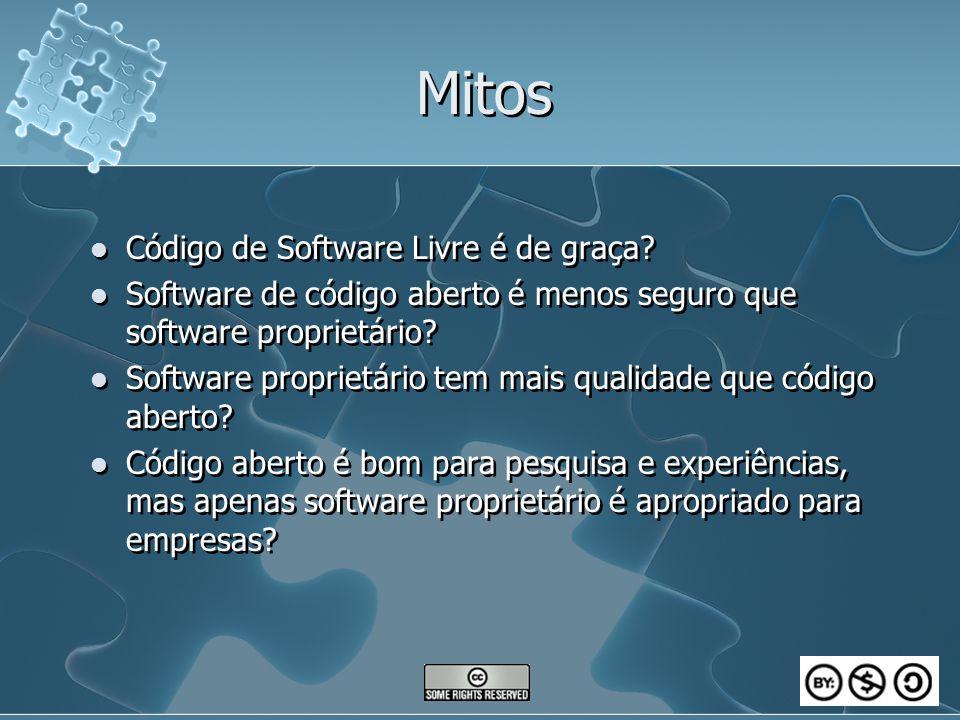 Mitos Código de Software Livre é de graça? Software de código aberto é menos seguro que software proprietário? Software proprietário tem mais qualidad