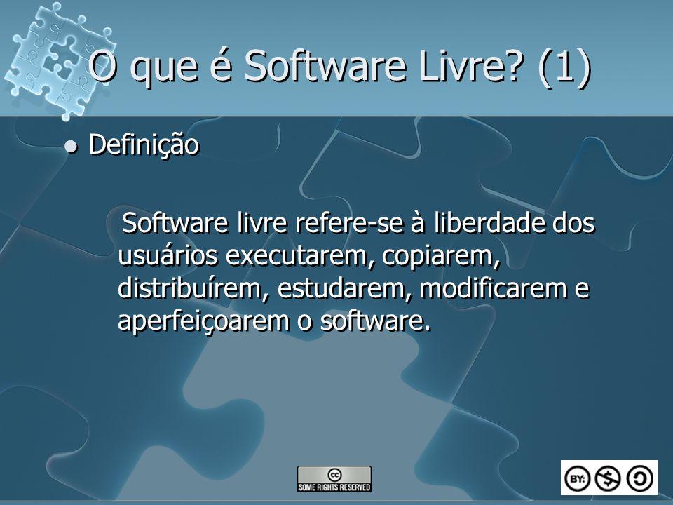 O que é Software Livre? (1) Definição Software livre refere-se à liberdade dos usuários executarem, copiarem, distribuírem, estudarem, modificarem e a