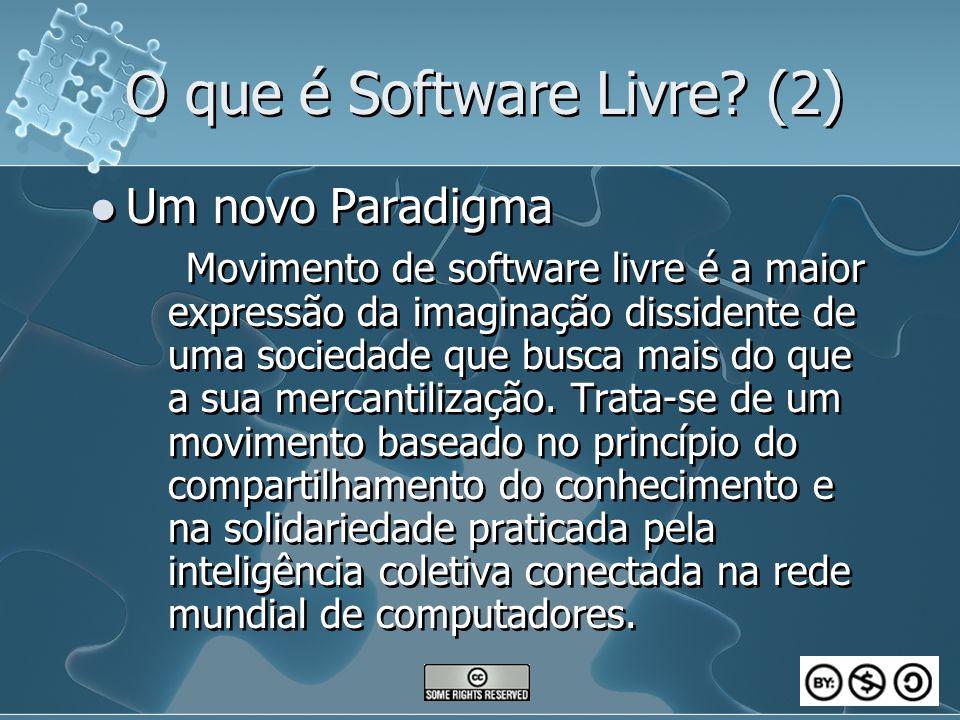 O que é Software Livre? (2) Um novo Paradigma Movimento de software livre é a maior expressão da imaginação dissidente de uma sociedade que busca mais