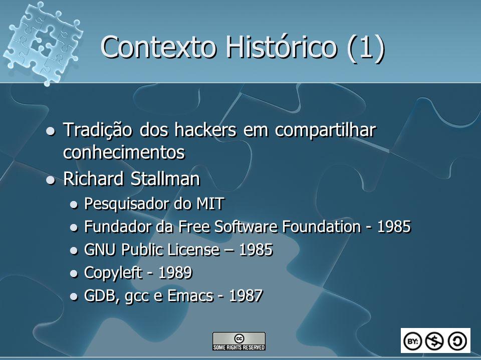 Contexto Histórico (1) Tradição dos hackers em compartilhar conhecimentos Richard Stallman Pesquisador do MIT Fundador da Free Software Foundation - 1985 GNU Public License – 1985 Copyleft - 1989 GDB, gcc e Emacs - 1987 Tradição dos hackers em compartilhar conhecimentos Richard Stallman Pesquisador do MIT Fundador da Free Software Foundation - 1985 GNU Public License – 1985 Copyleft - 1989 GDB, gcc e Emacs - 1987