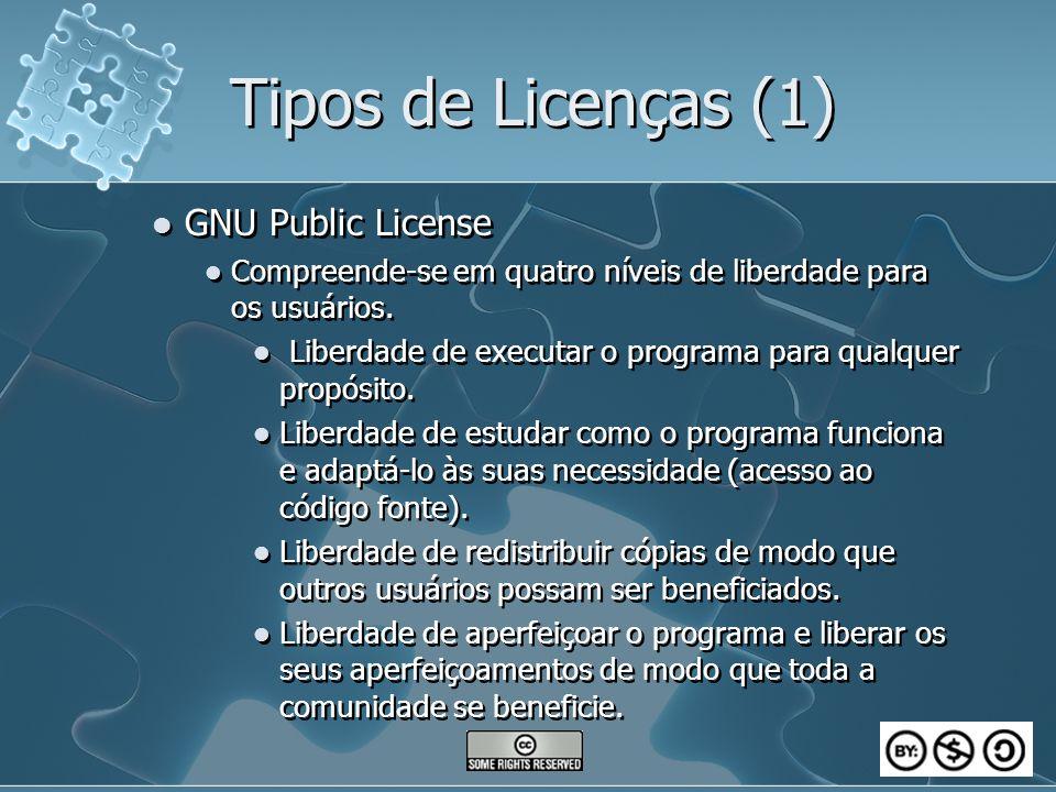 Tipos de Licenças (1) GNU Public License Compreende-se em quatro níveis de liberdade para os usuários. Liberdade de executar o programa para qualquer