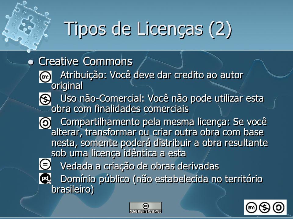 Tipos de Licenças (2) Creative Commons Atribuição: Você deve dar credito ao autor original Uso não-Comercial: Você não pode utilizar esta obra com fin