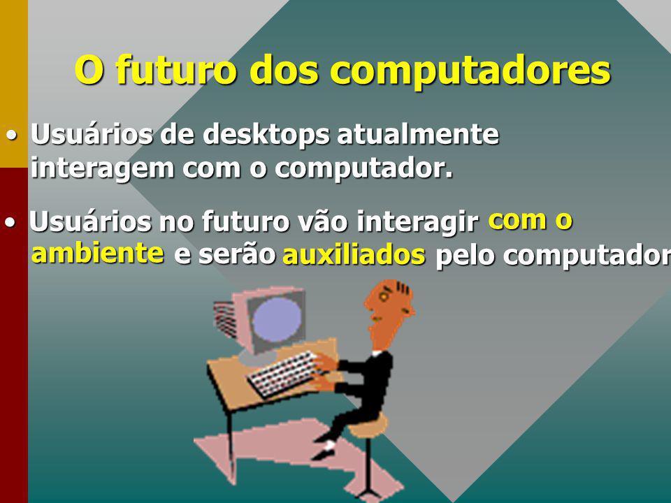 Usuários no futuro vão interagirUsuários no futuro vão interagir O futuro dos computadores com o ambiente e serão auxiliados pelo computador Usuários de desktops atualmente interagem com o computador.Usuários de desktops atualmente interagem com o computador.